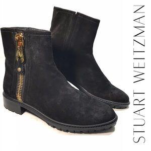Rare Stuart Weitzman Black Suede Lug Sole Boot 7.5